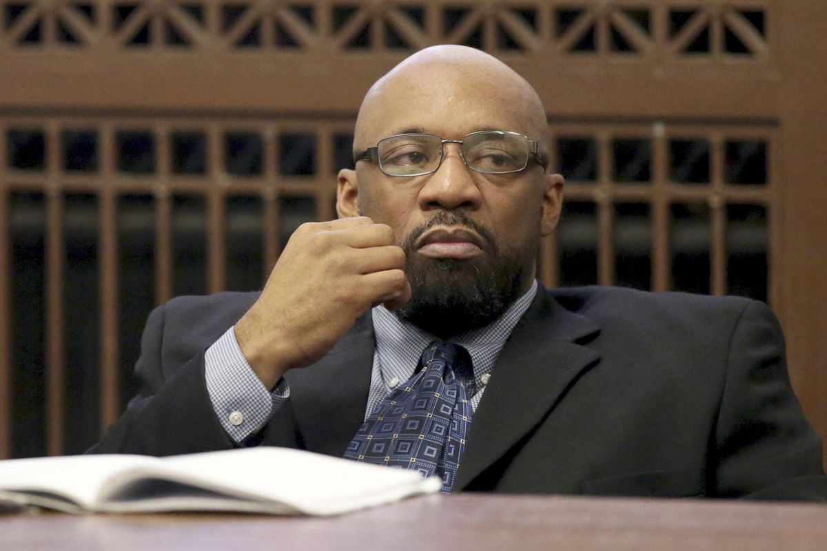 Shomari Legghette looks on during opening statements at his trial for the murder of Chicago Police Cmdr. Paul Bauer on Tuesday.