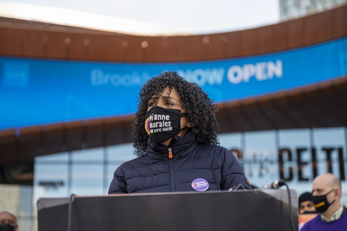 Mayoral candidate Dianne Morales at a news conference at the Barclays Center in Brooklyn on Apr. 23, 2021.