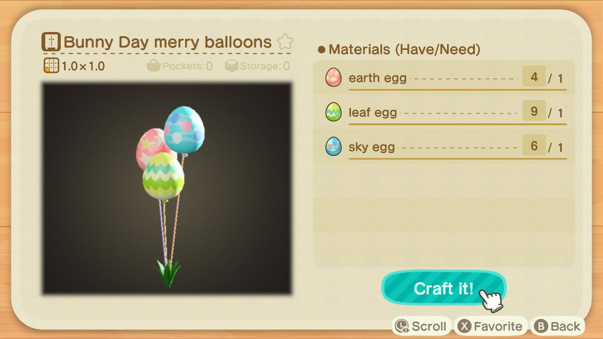 A crafting screen in Animal Crossing showing how to make Bunny Day Merry Balloons