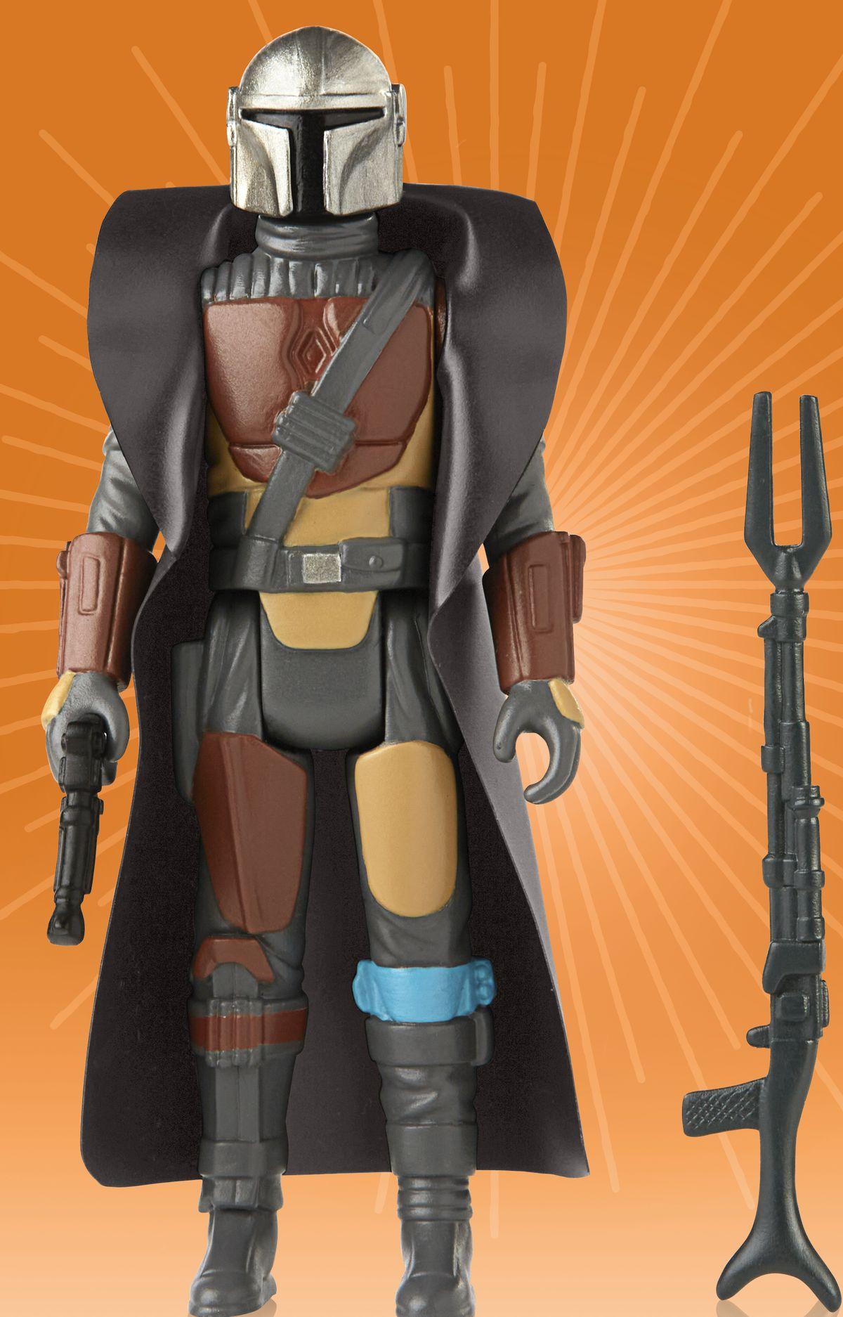 "Star Wars' ""retro"" Mandalorian figure with gun accessory"
