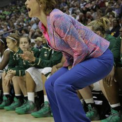 Baylor head coach Kim Mulkey speaks during the first half in the NCAA Women's Final Four semi-final college basketball game against Stanford, in Denver, Sunday, April 1, 2012.