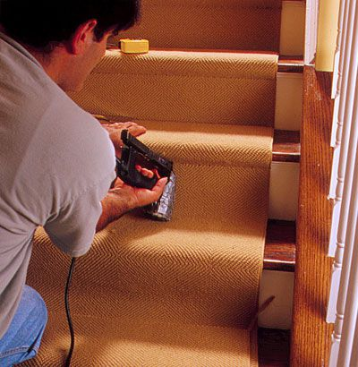 Man Shows How To Install Carpet On Stairs