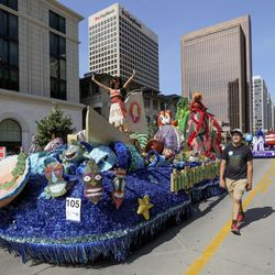 The city of South Jordan's float makes its way along the Days of '47 Parade route in Salt Lake City on Friday, July 23, 2021. The float won the Governor Award for the best float in the government section.