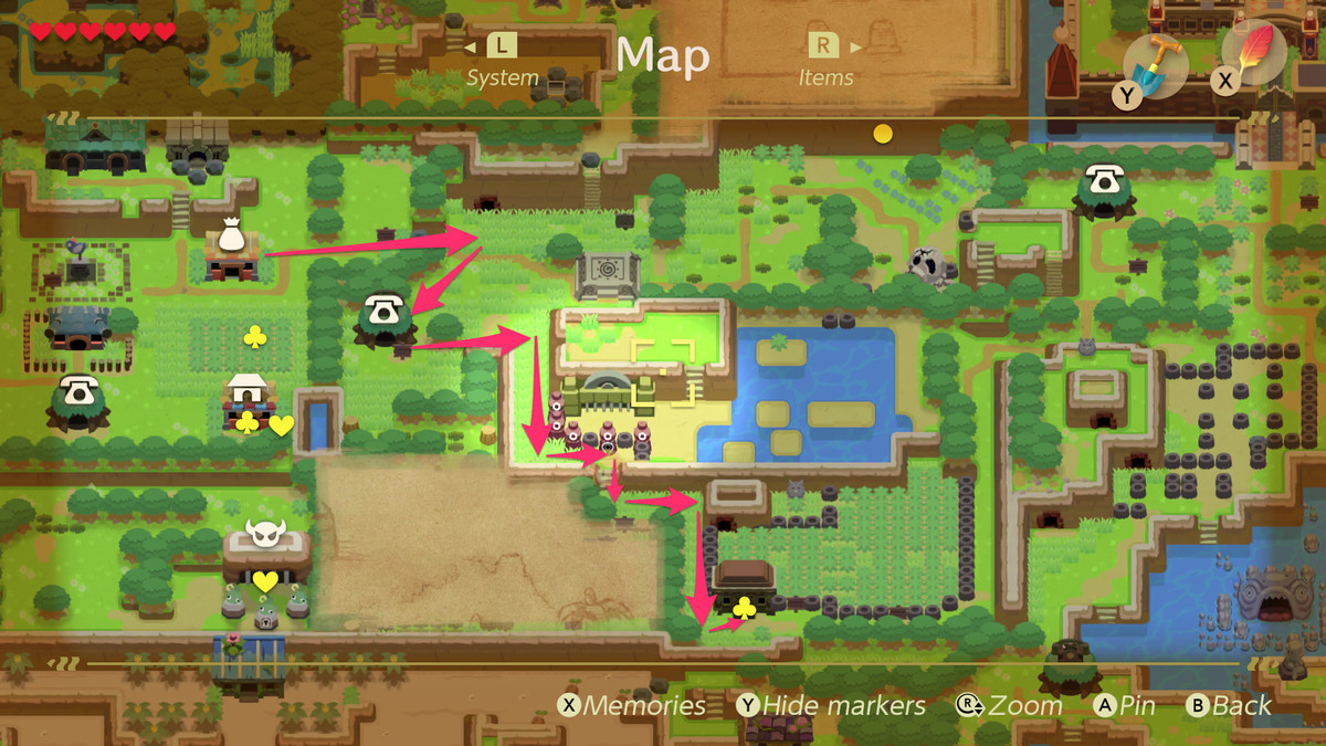 Link's Awakening path from Mabe Village to Richard in Pothole Field