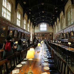 The dining hall at Christ Church, Oxford University, in England on June 14, 2017. The hall was used in the Harry Potter films.