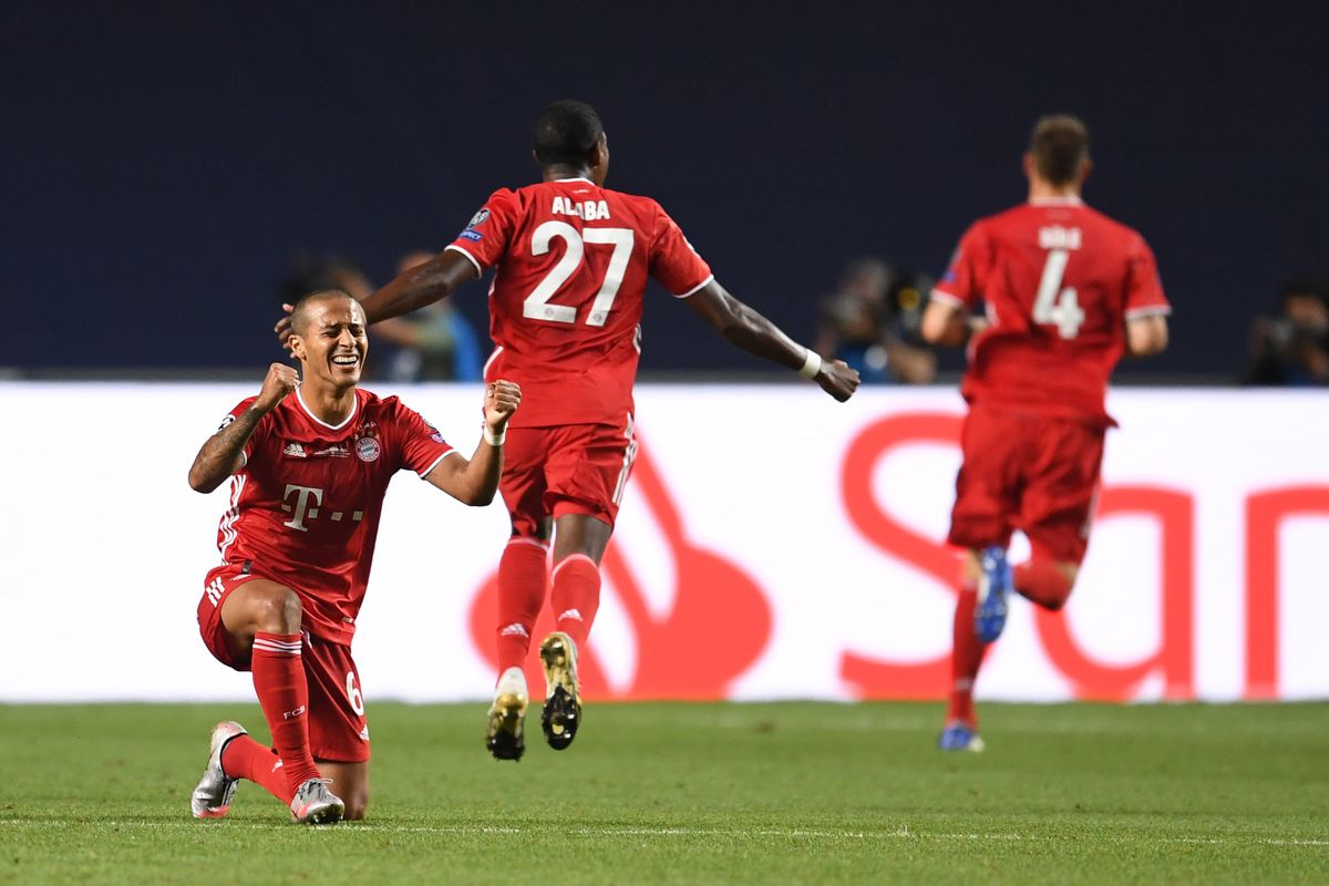 Thiago celebrates Kingsley Coman's goal in the UEFA Champions League Final against Paris Saint-Germain.