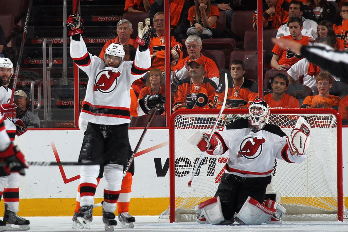 The Devils have won Game 5 by a score of 3-1 and beat the Flyers 4-1 in the playoff series.  Let's celebrate! (Photo by Bruce Bennett/Getty Images)