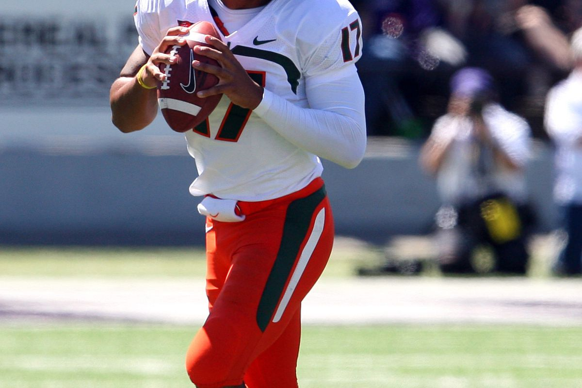 Sep 8, 2012; Manhattan, KS, USA; Miami Hurricanes quarterback Stephen Morris (17) drops back to pass during a 52-13 loss to the Kansas State Wildcats at Bill Snyder Family Stadium. Mandatory Credit: Scott Sewell-US PRESSWIRE