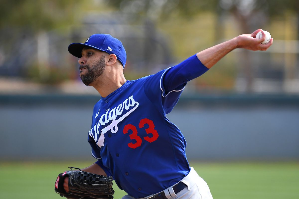 Los Angeles Dodgers starting pitcher David Price (33) throws live batting practice during spring training at Camelback Ranch in February.