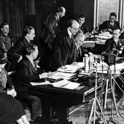 A member of the Plebiscite Commission broadcasts the result of the vote in the Wartburg, Saarbrucken, Jan. 15, 1935. The result announced that 90.8 percent of voters voted to rejoin Germany.
