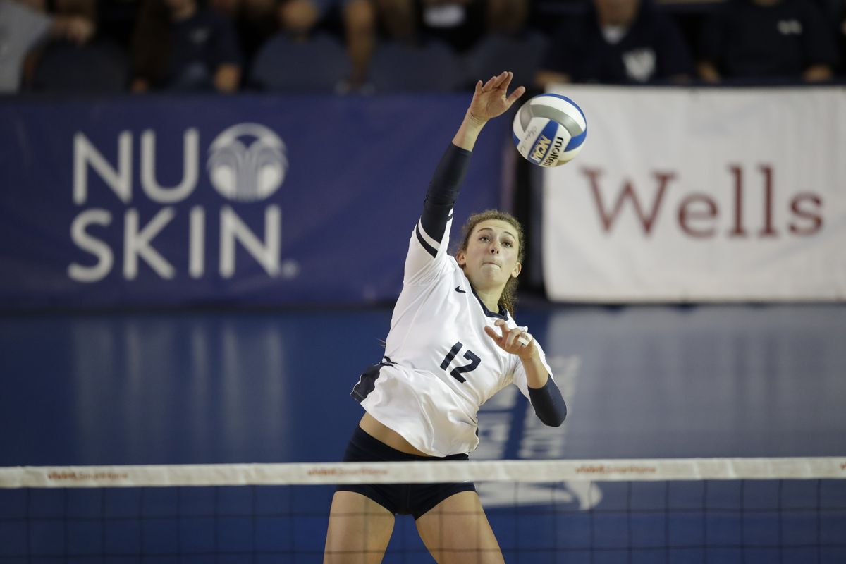 Roni Jones-Perry spikes the ball during BYU's sweep of UVU in this year's UCCU Crosstown Clash.