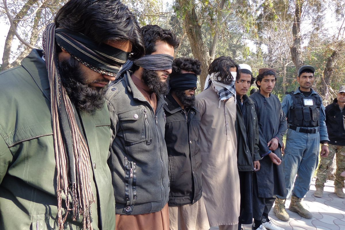 Four members of ISIS are captured by Afghan authorities in Nangarhar, Afghanistan, on January 20, 2016.