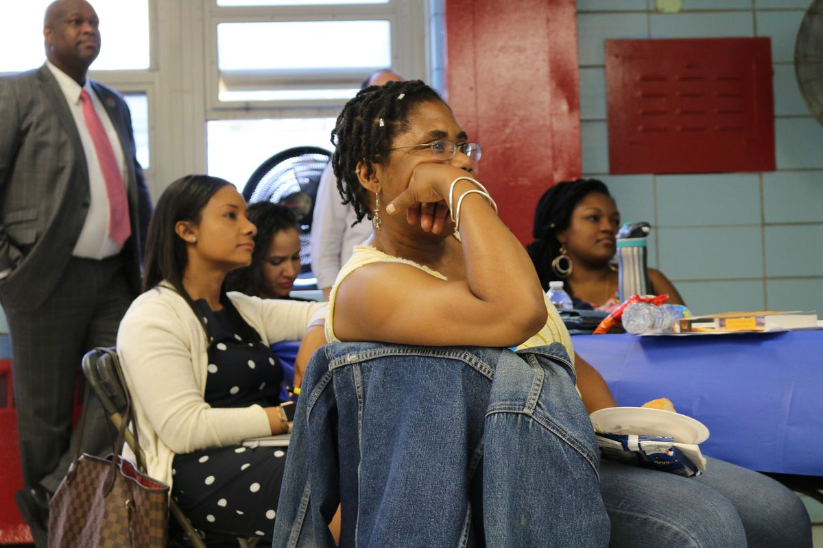 Parents, educators, and integration advocates gathered in Harlem for a town hall organized by Mayor Bill de Blasio's School Diversity Advisory Group in June.