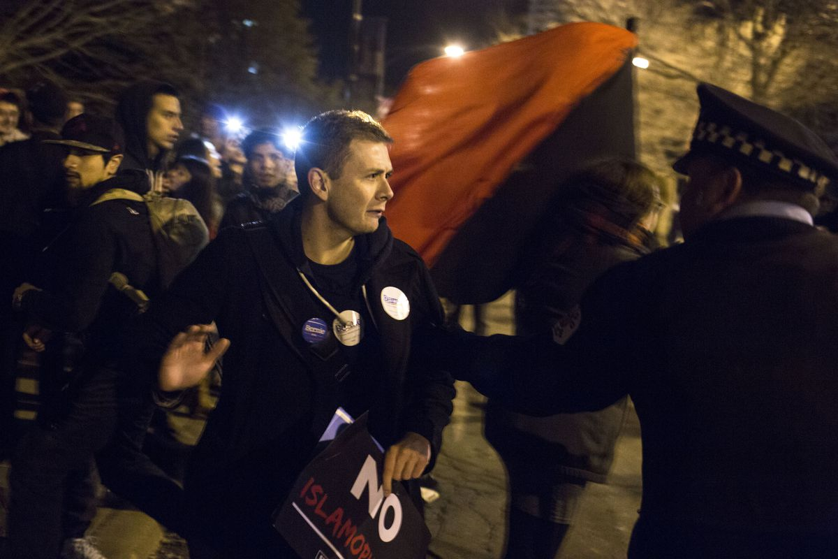 An anti-Trump protester in Chicago.