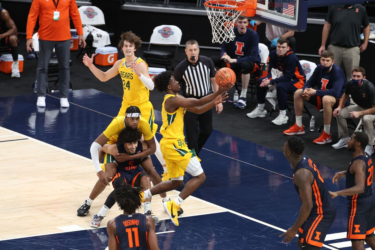Adam Flagler of the Baylor Bears shoots the ball against the Illinois Fighting Illini during the Jimmy V Classic at Bankers Life Fieldhouse on December 02, 2020 in Indianapolis, Indiana.
