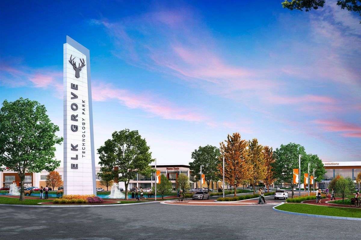 A rendering of the Elk Grove Technology Park, a development on an 85-acre site in Elk Grove Village.