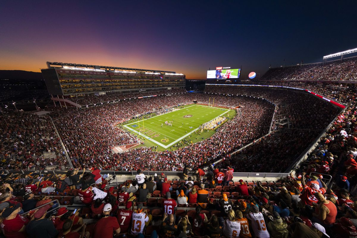 General view of the interior of Levis Stadium from an elevated level at sunset during the NFL regular season football game between the Cleveland Browns and the San Francisco 49ers on Monday, Oct. 7, 2019 at Levi's Stadium in Santa Clara, Calif.