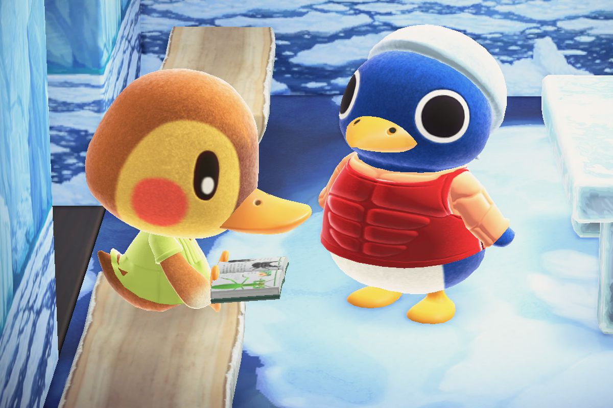A duck and a penguin in Animal Crossing