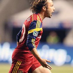 RSL's Ned Grabavoy celebrates a goal as Real Salt Lake and the San Jose Earthquakes play Saturday, Oct. 11, 2014, at Rio Tinto Stadium in Sandy.