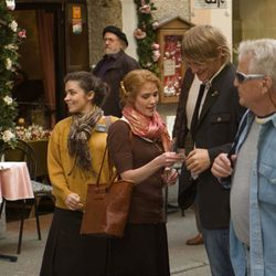 """LDS missionaries Sister Taylor (Erin Chambers) and Sister Young (Rachel Emmers) share their message on a busy street in """"Errand of Angels."""""""
