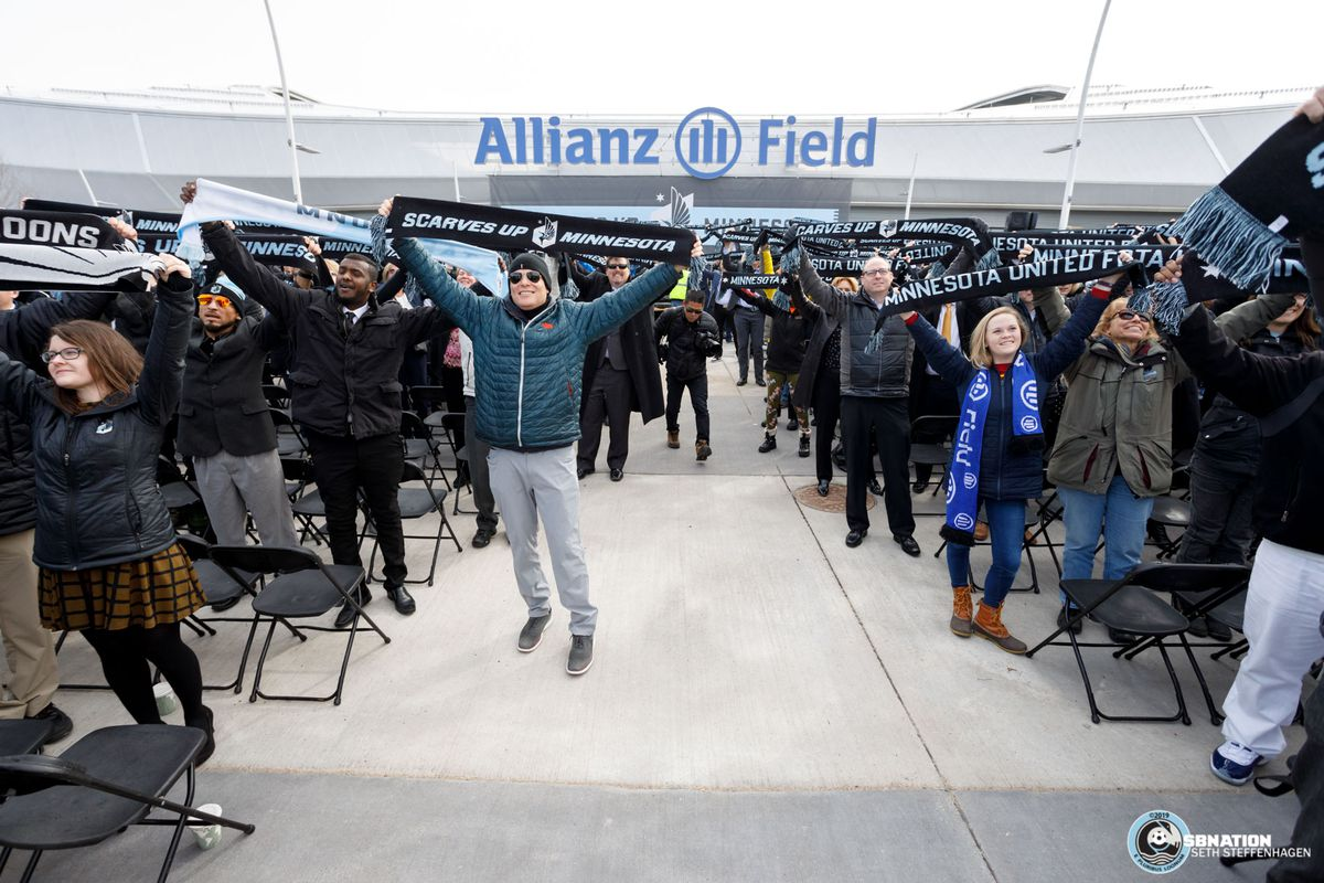 March 18, 2019 - Saint Paul, Minnesota, United States - Attendees hold up their scarves during the Allianz Field Scarf Raising Ceremony at Allianz Field.   (Photo by Seth Steffenhagen/Steffenhagen Photography)