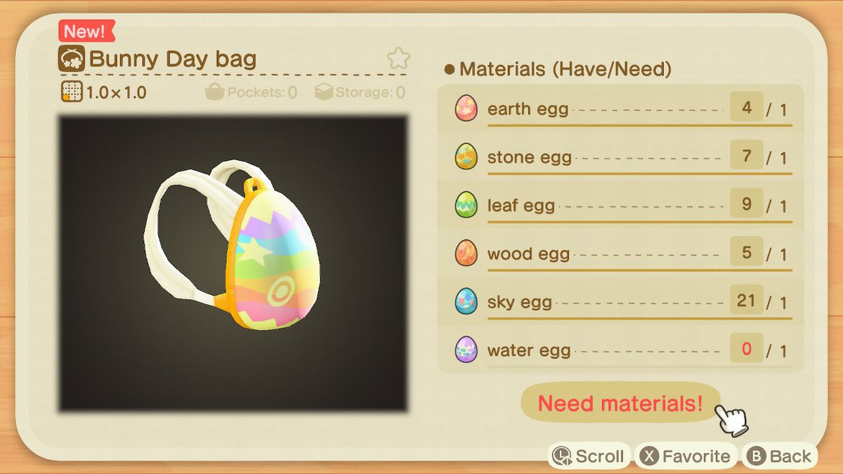 A crafting screen in Animal Crossing showing how to make a Bunny Day Bag