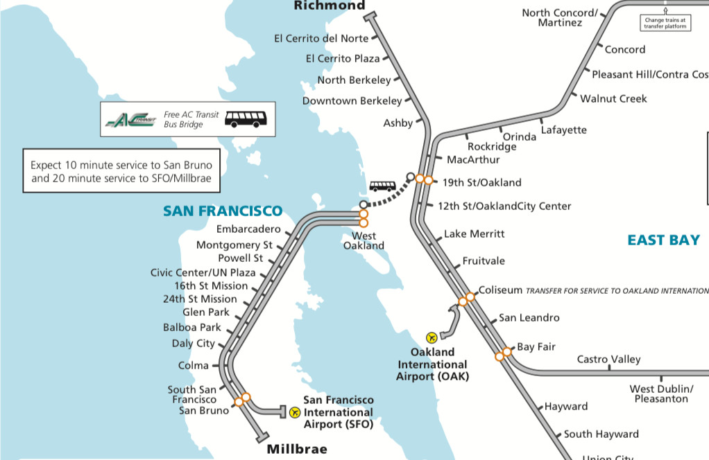 Oakland Subway Map.Oakland Bart Service Suspended Again Curbed Sf
