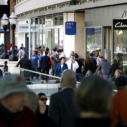 Shoppers enjoy the grand opening of the City Creek Center in Salt Lake City on Thursday, March 22, 2012.