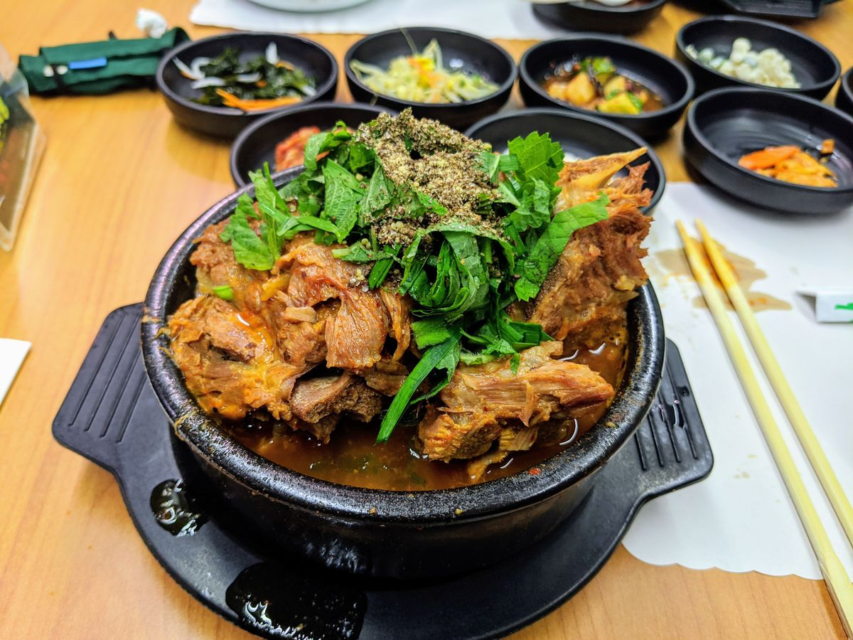 For a massive Korean pork neck stew available nearly all hours of the day: Yangji Gamjatang.