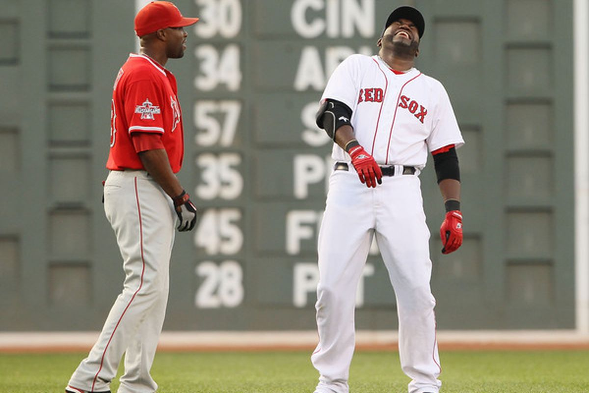 BOSTON - AUGUST 19:  Torii Hunter #48 of the Los Angeles Angels of Anaheim and David Ortiz #34 of the Boston Red Sox talk before the game on August 19 2010 at Fenway Park in Boston Massachusetts.  (Photo by Elsa/Getty Images)