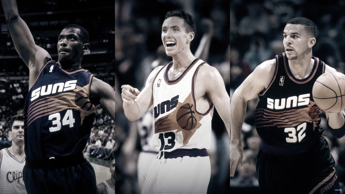 The Phoenix Suns lineup of Antonio McDyess, Steve Nash and Jason Kidd.