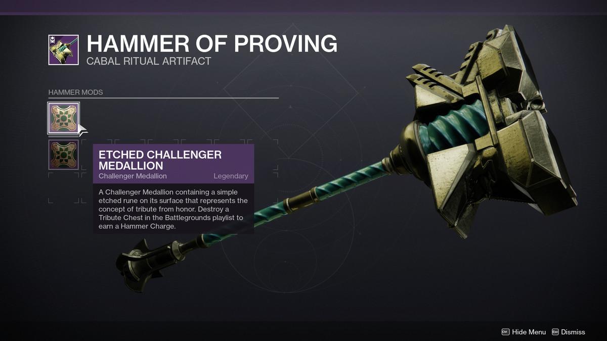 Season of the Chosen Hammer of Proving Medallion UI