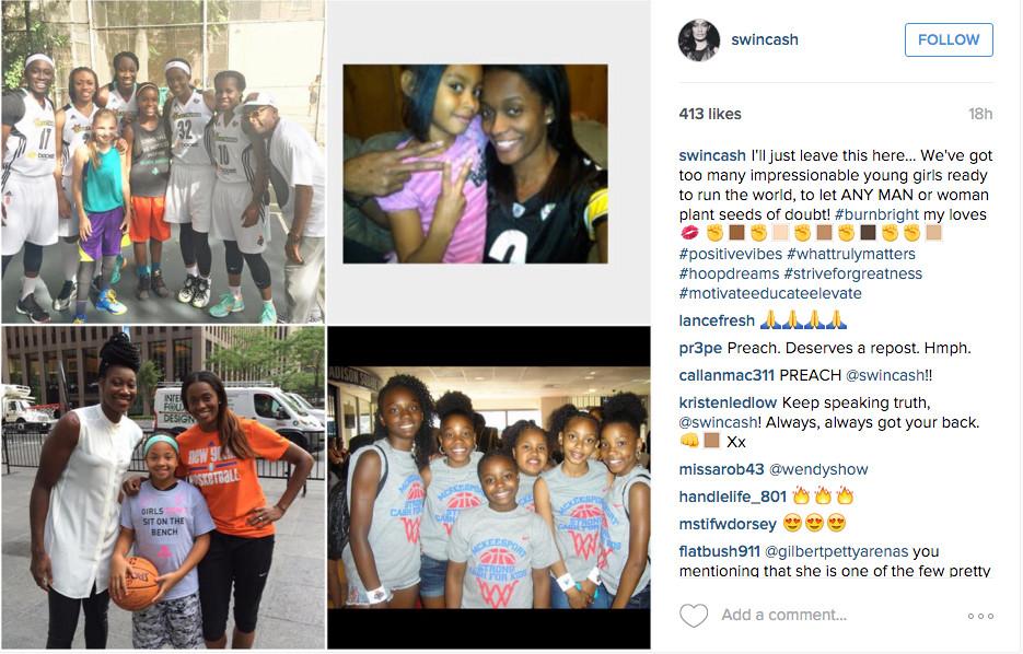 WNBA player Swin Cash responds on Instagram