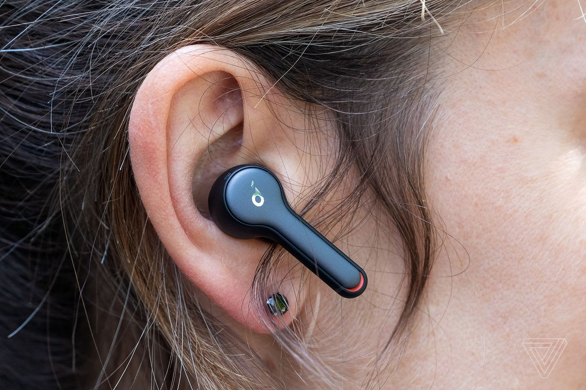 Anker's Soundcore Liberty Air 2, pictured in a woman's right ear, are the best cheap wireless earbuds for making voice calls.
