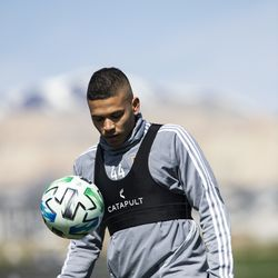 Real Salt Lake's Maikel Chang trains during the first day of voluntary individual training at the RSL Academy on Thursday, May 7, 2020.