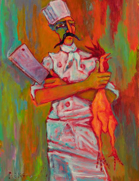 """""""The Butcher"""" by Tony Roko is a painting that shows a butcher in a tall chef's hat, holding a cleaver in one hand and a live chicken by the neck in another"""