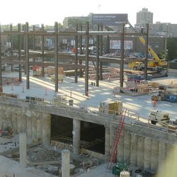 6:59 p.m. Another view of the north end of the triangle lot -