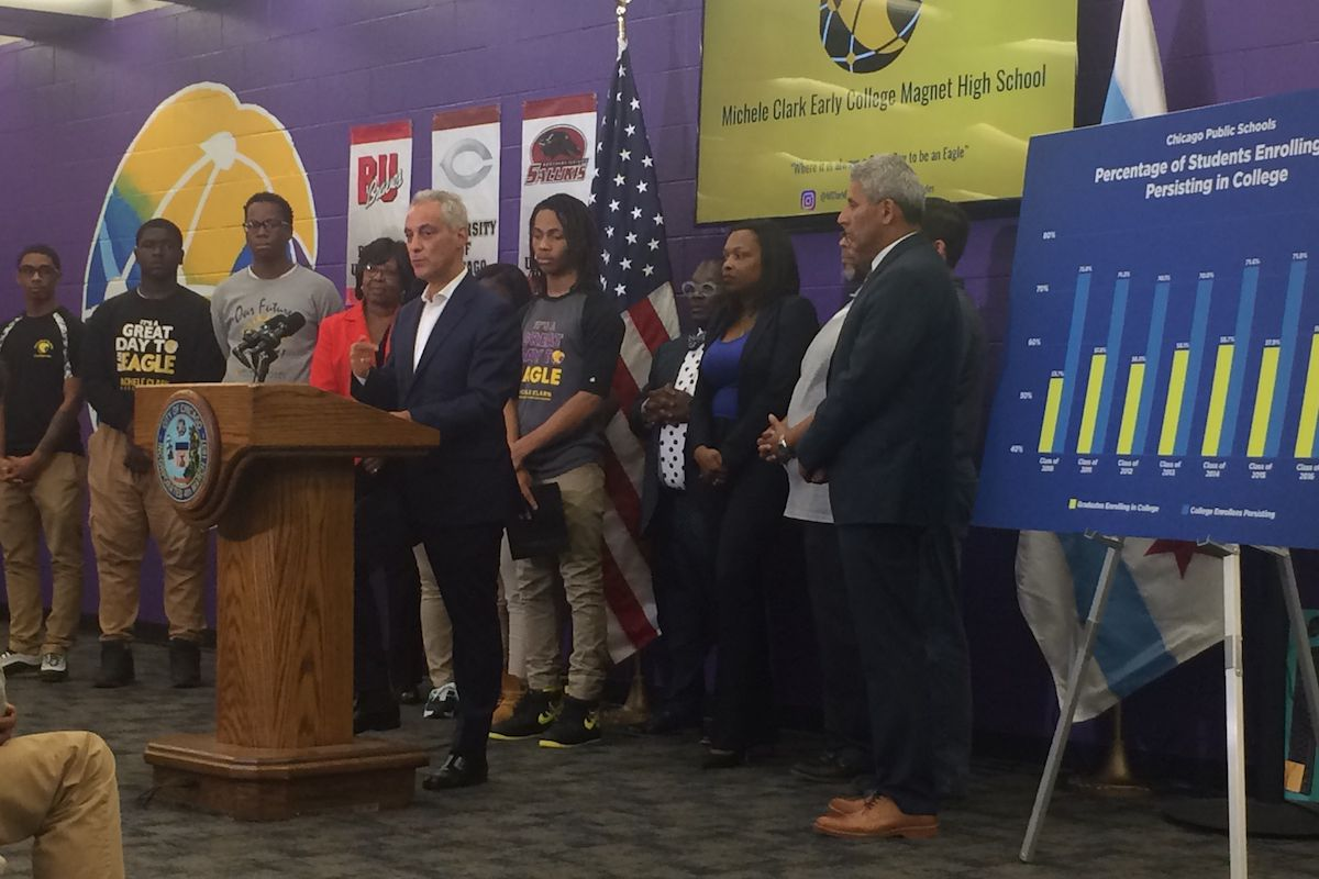 Mayor Rahm Emanuel, CPS CEO Janice Jackson, and other city officials convened at Michele Clark Magnet High School in the Austin neighborhood to announce the latest college enrollment statistics.