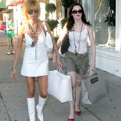 Rose McGowan and a friend after shopping at Tory Burch and Curve on Robertson Boulevard.
