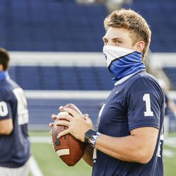 BYU quarterback Zach Wilson goes through warmups before the Cougars' game against Navy on Monday, Sept. 7, 2020, at Navy-Marine Corps Memorial Stadium in Annapolis, Md.