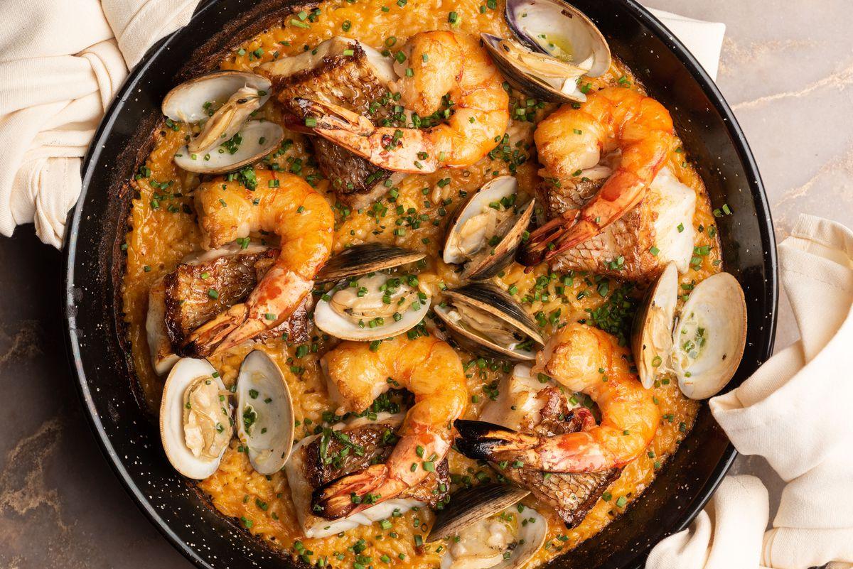 Intercrew restaurant's seafood paella in Los Angeles, California