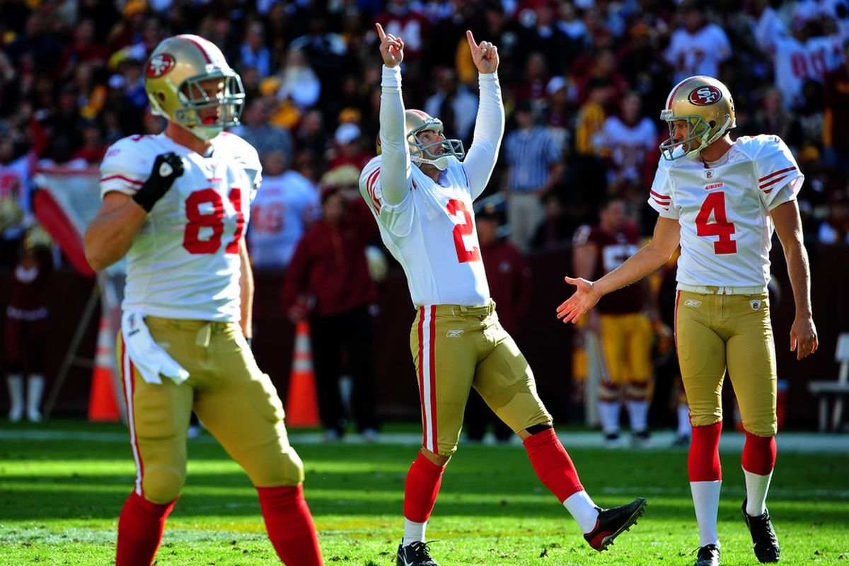 LANDOVER, MD - NOVEMBER 6: David Akers #2 of the San Francisco 49ers celebrates after kicking a first half field goal against the Washington Redskins at FedEx Field on November 6, 2011 in Landover, Maryland. (Photo by Scott Cunningham/Getty Images)