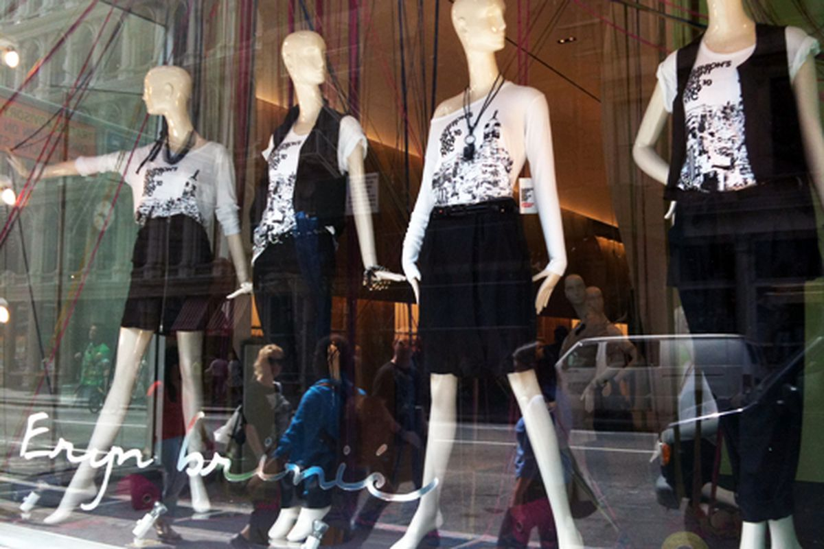 Mannequins celebrate Fashion's Night Out in the window of Soho's Eryn Brinie