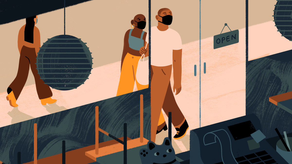 Illustration of two masked people looking at a closed restaurant interior.