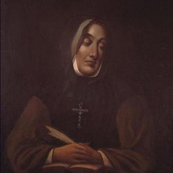 A portrait of Marie-Marguerite d'Youville painted by James Duncan. A woman with leukemia had prayed to d'Youville, who founded the Order of Sisters of Charity of Montreal, more than 200 years after her death and survived longer than science could have predicted or supported.