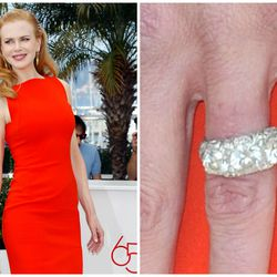 Valued at about $50,000, the Cartier engagement ring Keith Urban bought for Nicole Kidman is not just one diamond, but a full band of giant sparkling stones.