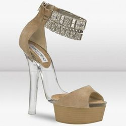 """These Jimmy Choos may veer a little close to stripper-looking, but the slightly avant garde, edgy style redeems them. Available at <a href=""""http://www.jimmychoo.com/sandals/ciara-/invt/015ciarasue/"""" rel=""""nofollow"""">Jimmy Choo</a>"""