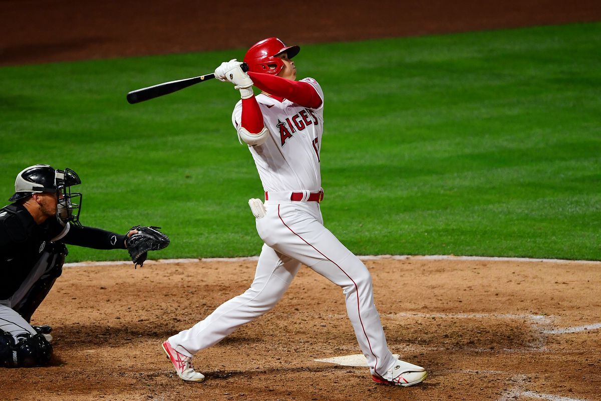 Shohei Ohtani #17 of the Los Angeles Angels bats during the game between the Chicago White Sox and the Los Angeles Angels at Angel Stadium on Thursday, April 1, 2021 in Anaheim, California.