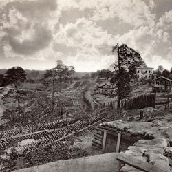 """""""Rebel Works in Front of Atlanta, Georgia No. 1"""" (1864) by photographer George Barnard is now on display."""