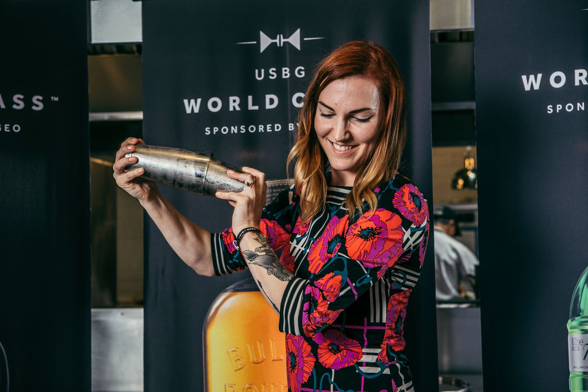 Katie Renshaw competes at the United States Bartenders' Guild World Class in Shelbyville, Kentucky.